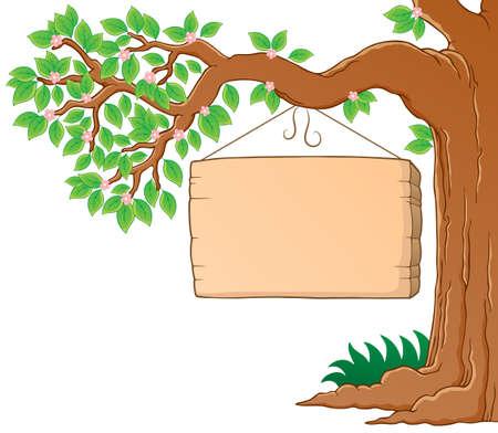leafy trees: �rbol sucursal en la imagen tem�tica del muelle 3 - ilustraci�n vectorial