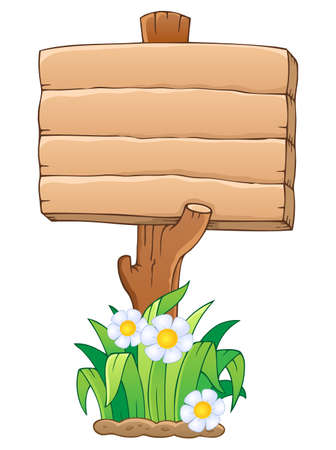 Wooden signboard theme image 1 - vector illustration