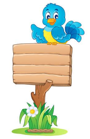 birdie: Immagine di tema Cartello in legno