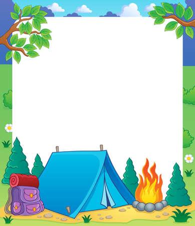 camp de vacances: Cadre th�me Camping Illustration