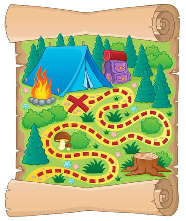 Camping theme map  Illustration
