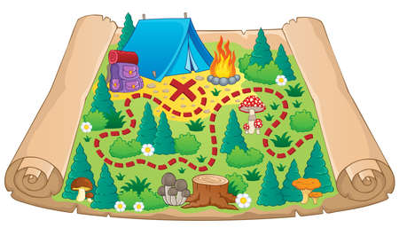 Camping theme map image 2 - vector illustration