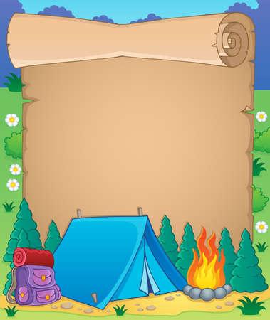 lägereld: Camping tema pergament 1 - vektor illustration