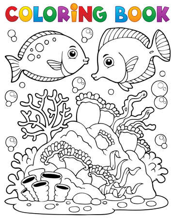 Coloring book coral reef theme   Vector