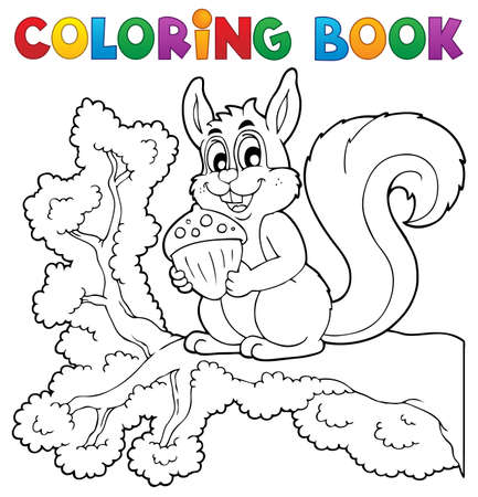 bough: Coloring book squirrel theme 1 - vector illustration
