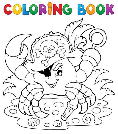 Coloring book with pirate crab - vector illustration  Vector