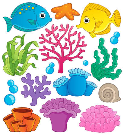 Coral reef theme collection 1 - vector illustration  Illustration