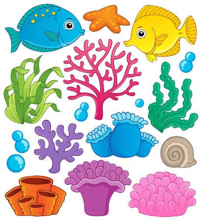 ekosistem: Mercan kayalığı tema toplama 1 - vektör çizim
