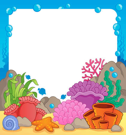 sea anemone: Coral reef theme frame 1 - vector illustration