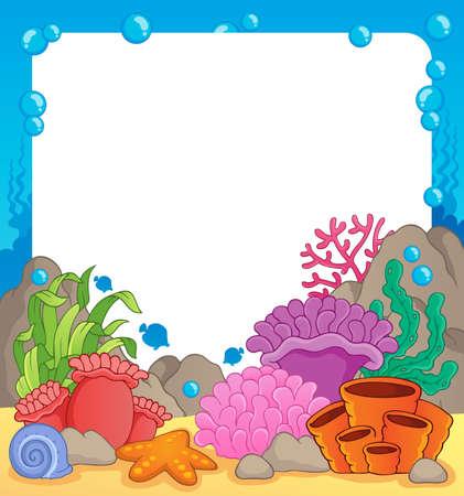 Koraalrif thema frame 1 - vector illustration