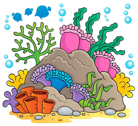 sea anemone: Coral reef theme   Illustration