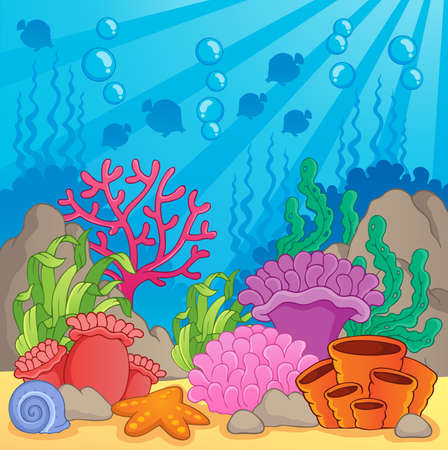 aquatic plants: Coral reef theme image 3 - vector illustration