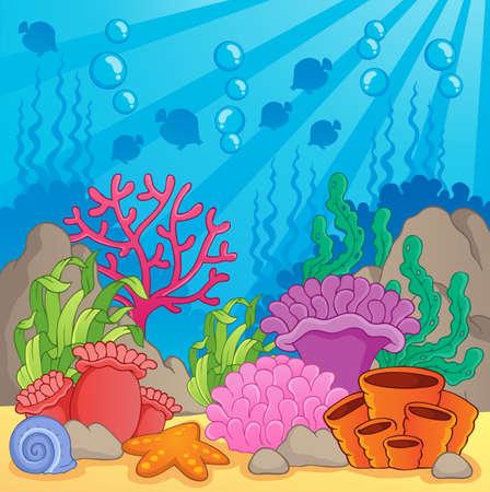 ekosistem: Mercan kayalığı tema resim 3 - vektör çizim