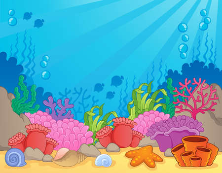 Coral reef image du thème 4 - illustration vectorielle Vecteurs