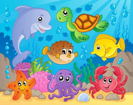 tortuga de caricatura: Arrecife de coral tema image 5 - ilustraci�n vectorial Vectores
