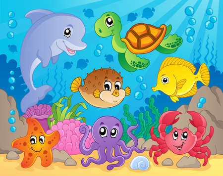 bottom of sea: Coral reef theme image 5 - vector illustration