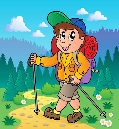 Image with hiking theme 1 - vector illustration  Stock Illustratie