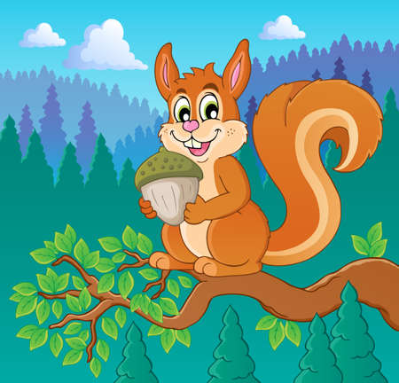 Image with squirrel theme 2 - vector illustration  Illustration