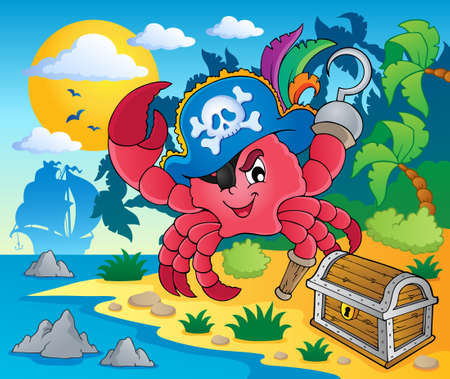crab cartoon: Pirate crab