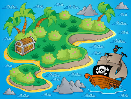 Theme with island and treasure  Vector