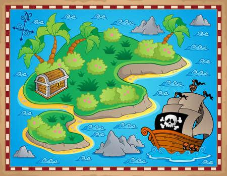 schatkaart: Thema met eiland en schat 2 - vector illustratie