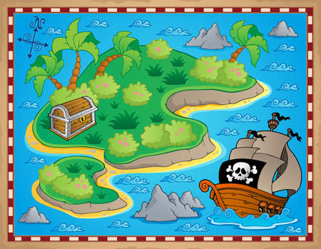 Theme with island and treasure 2 - vector illustration