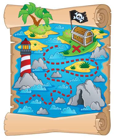 Carte au trésor thème Banque d'images - 18559651