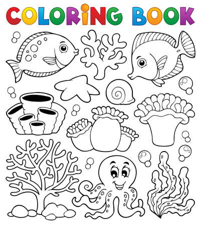 Coloring book coral reef theme Stock Vector - 19059073