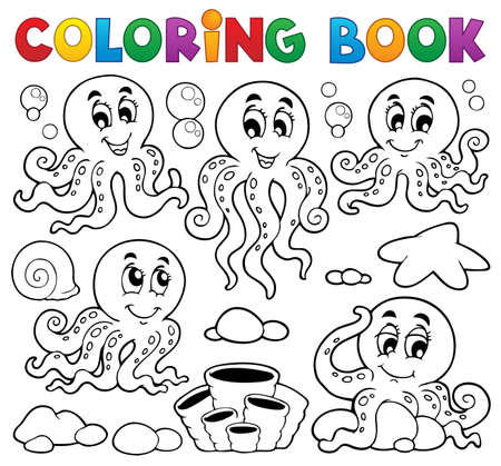 Coloring book octopus theme