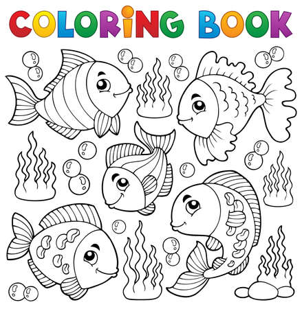 Coloring book various fish theme