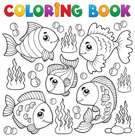 peces caricatura: Libro para colorear diversos tema de los peces Vectores