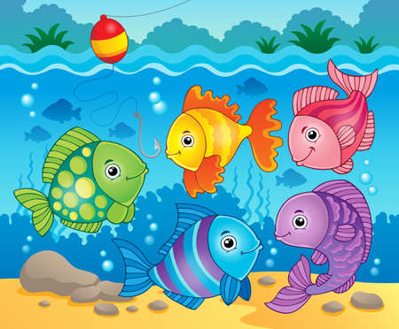 Fish theme image Vector