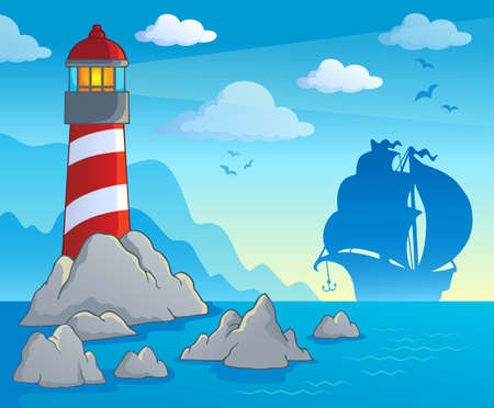 ocean view: Lighthouse theme image  Illustration