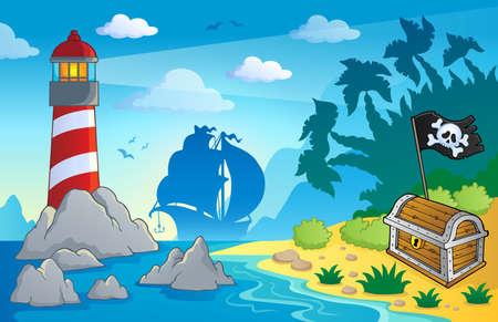barco pirata: Imagen del tema de Faro Vectores