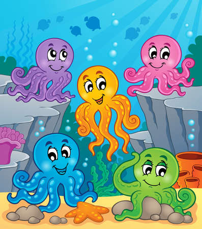 Octopus theme image  Vector