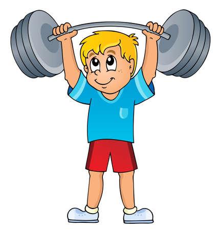 levantando pesas: El deporte y el tema gimnasio