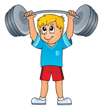 man lifting weights: Sport and gym theme
