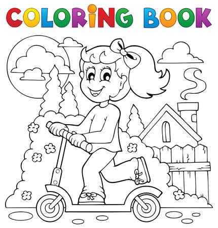 Coloring book kids play theme  Vector