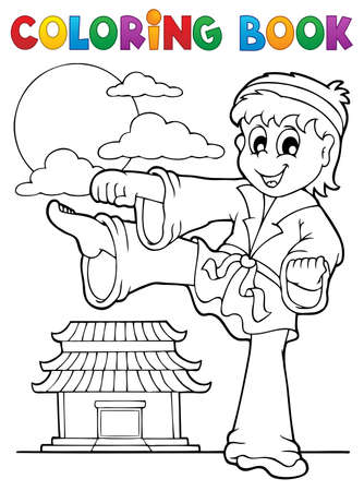 karate practice: Coloring book sport and gym