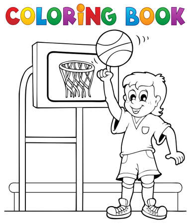 Coloring book sport and gym Illustration