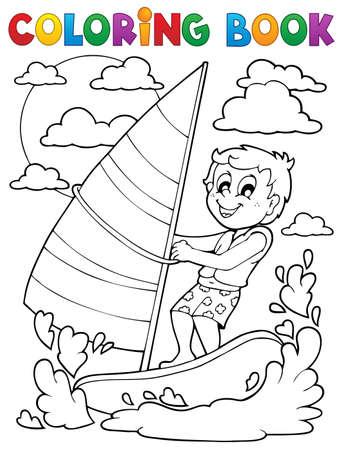 wind surf: Colorear deporte acu�tico libro Vectores