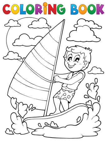 wind surfing: Coloring book water sport