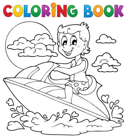 Coloring book water sport  Vector
