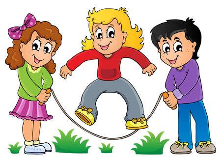 niños jugando caricatura: Los niños juegan tema