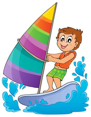 windsurfing: El tema Deporte de agua Vectores