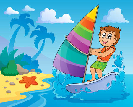 wind surfing: Water sport theme  Illustration