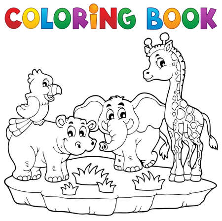 camelopard: Coloring book African fauna 2   Illustration