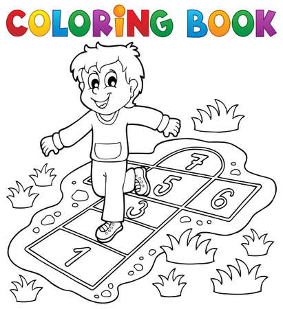 Coloring book kids play theme 4   Vector