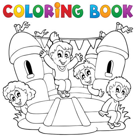 Coloring book kids play theme 5   Illustration
