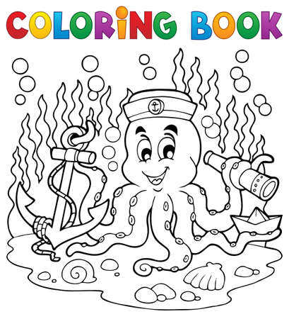 Coloring book octopus sailor 1   Vector
